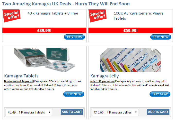 One UK-based online store's ad for Kamagra sale