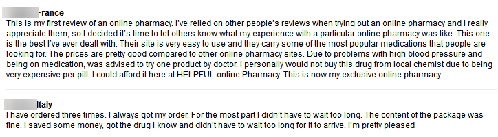 Pharmacy Mall Customer Comments