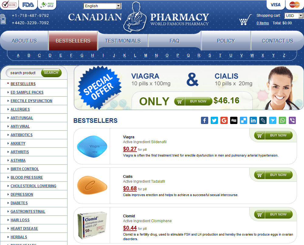 Storefront of One of the Online Pills Sites